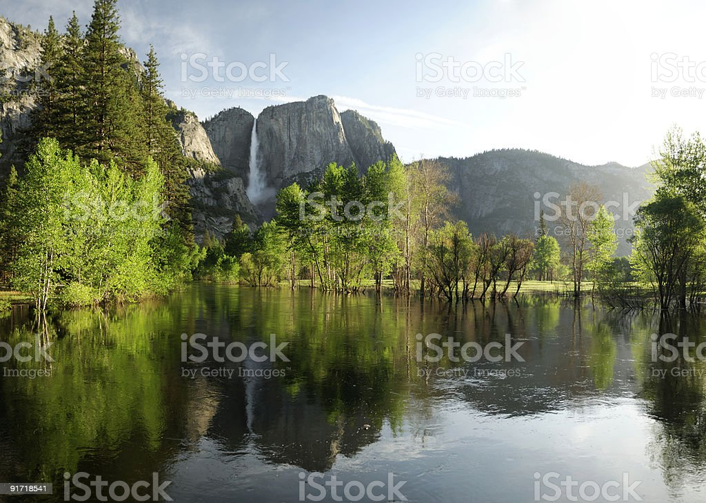Spring flooding in Yosemite Valley, California stock photo