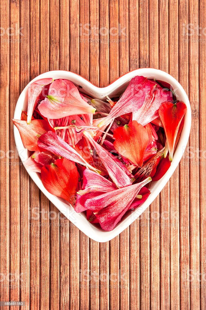 Spring floral petals love heart shape decor royalty-free stock photo