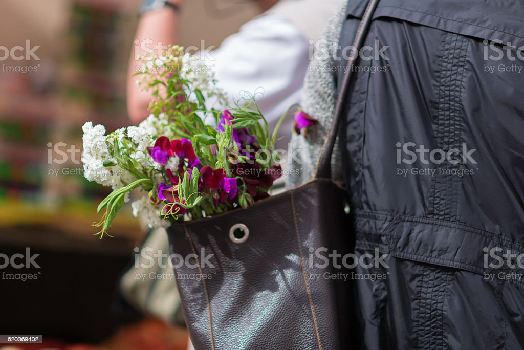 spring flowers in a bag of a woman stock photo