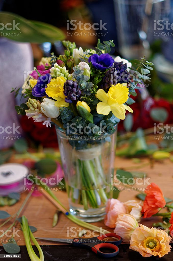 Spring flowers in a vase royalty-free stock photo