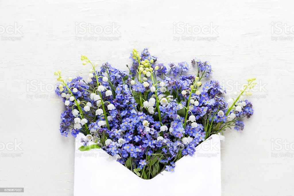 Spring flowers in an envelope on a rustic background. stock photo
