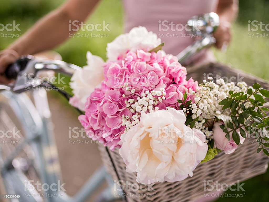 Spring flowers in the basket of a vintage bicycle stock photo