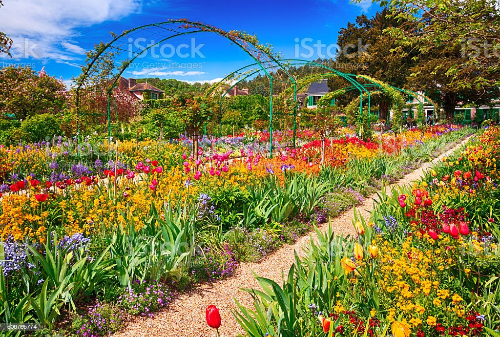 Spring garden, Giverny, France stock photo