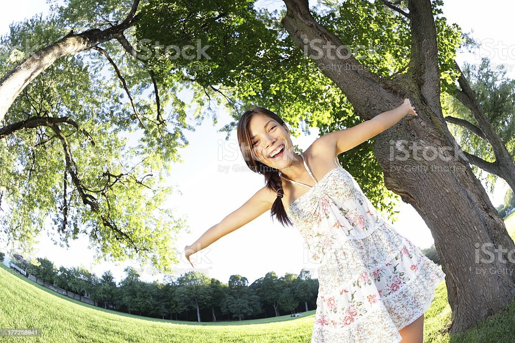 Spring girl happy royalty-free stock photo