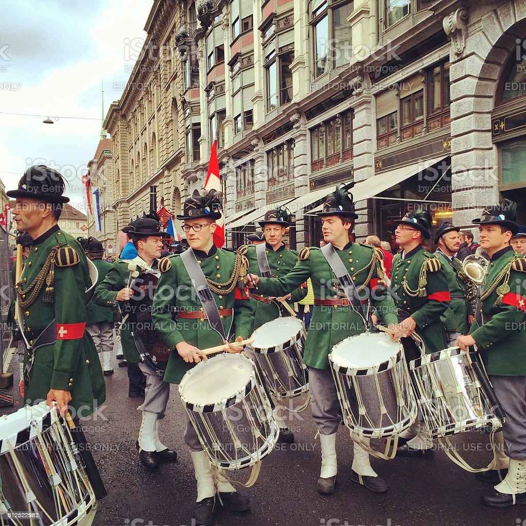 Spring Holiday - Sechselauten parade in Zurich stock photo