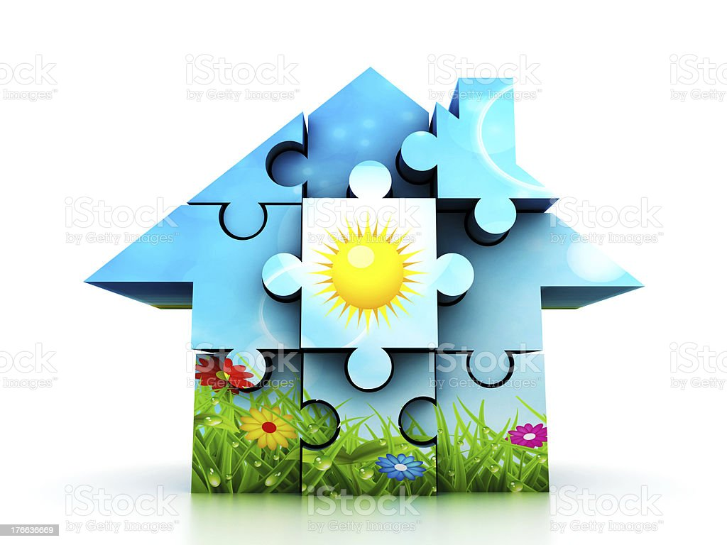 Spring house made of puzzle royalty-free stock photo