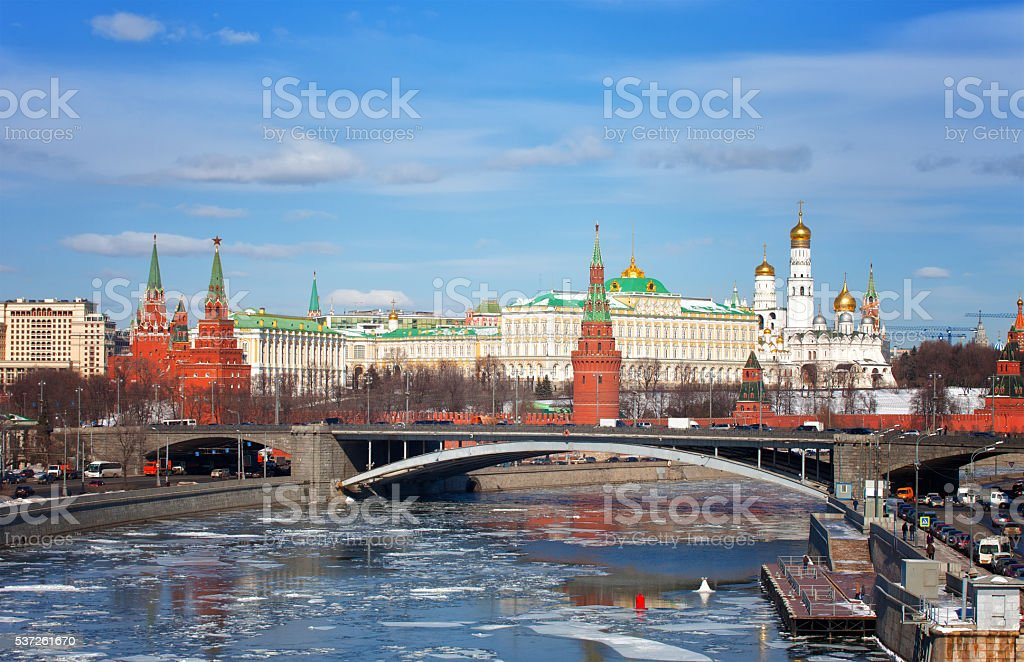Spring ice drift on  Moskva River against the Moscow Kremlin stock photo