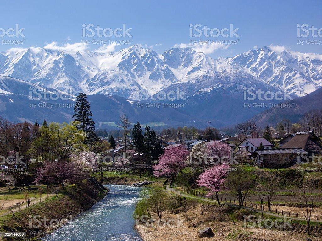 Spring in mountain village stock photo