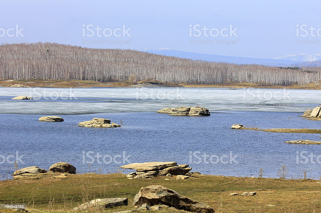 Spring lake stock photo