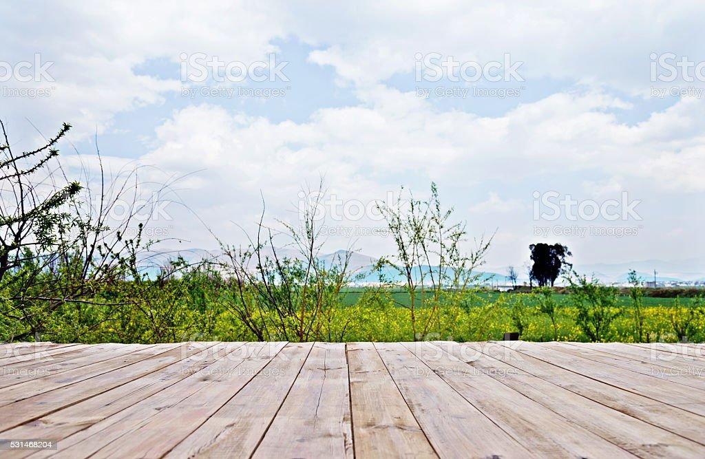 Spring landscape and wooden platform stock photo