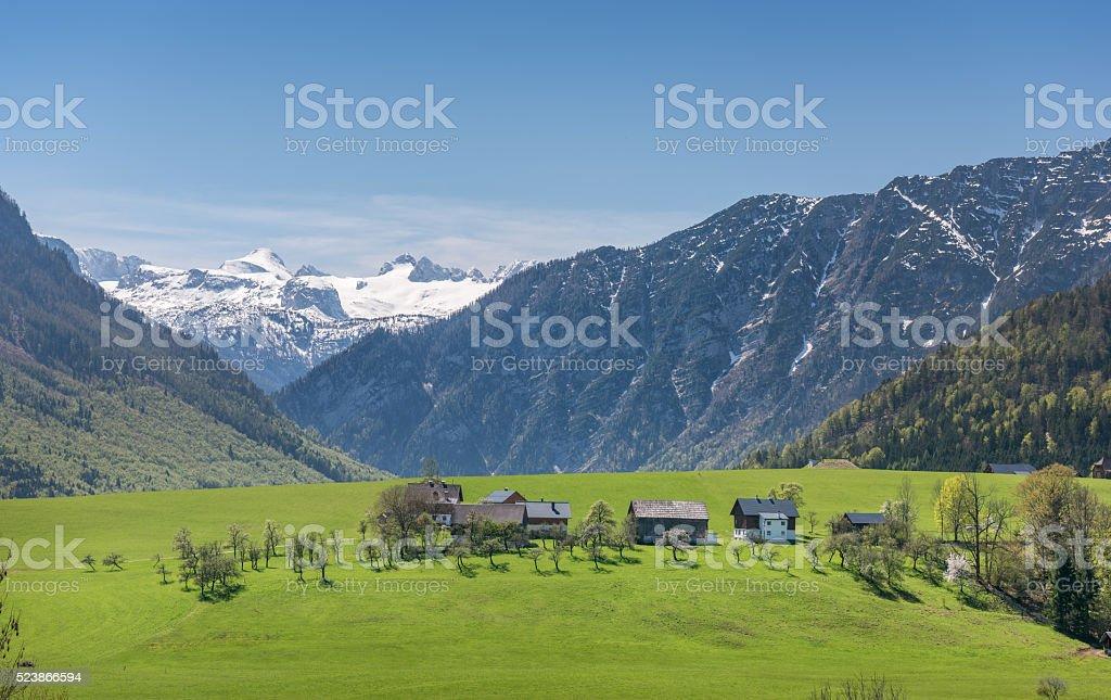 Spring Landscape, Austrian Alps with Glacier Dachstein, Steiermark, Bad Aussee stock photo