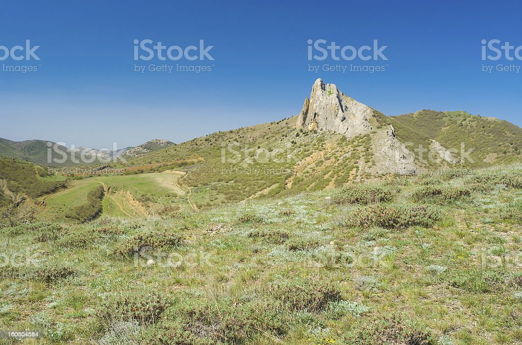Spring landscape with Frog mountain near Sudak town royalty-free stock photo