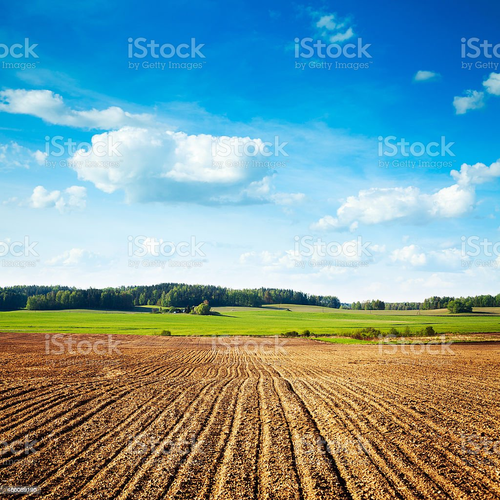 Spring Landscape with Plowed Field and Blue Sky stock photo