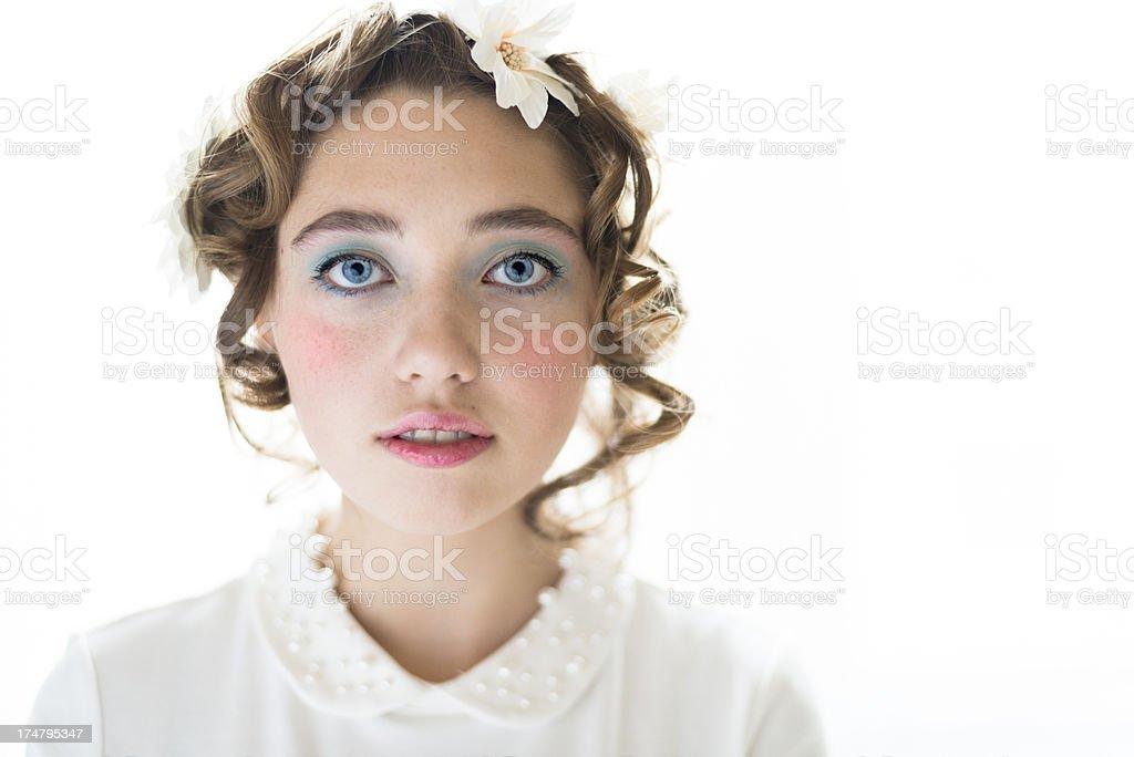 Spring makeup beauty portrait, horizontal. royalty-free stock photo