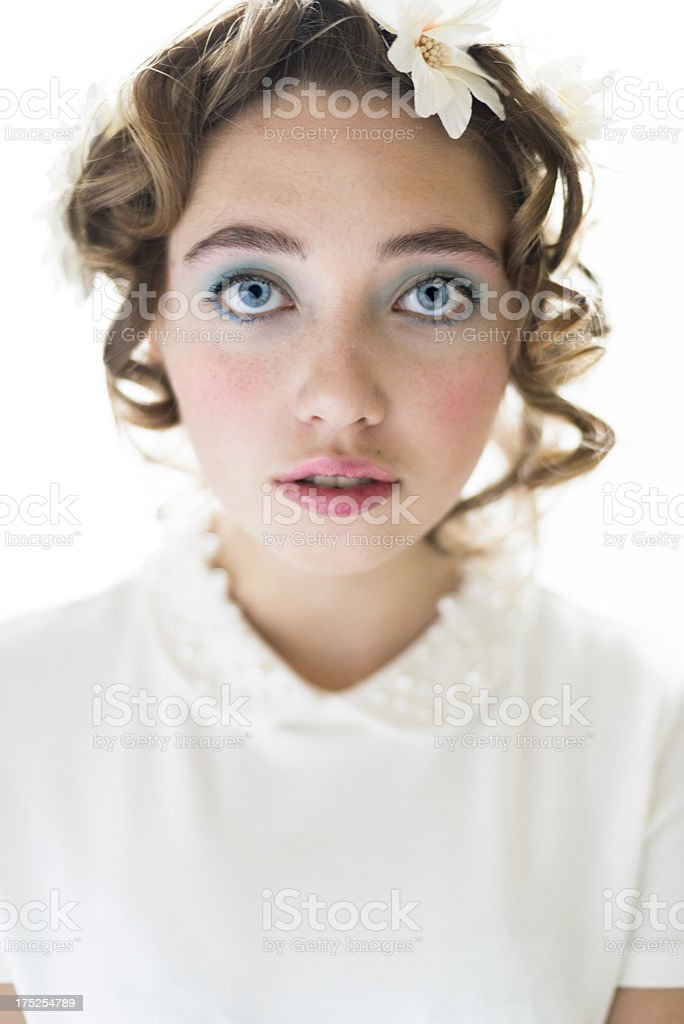 Spring makeup beauty portrait, vertical. royalty-free stock photo