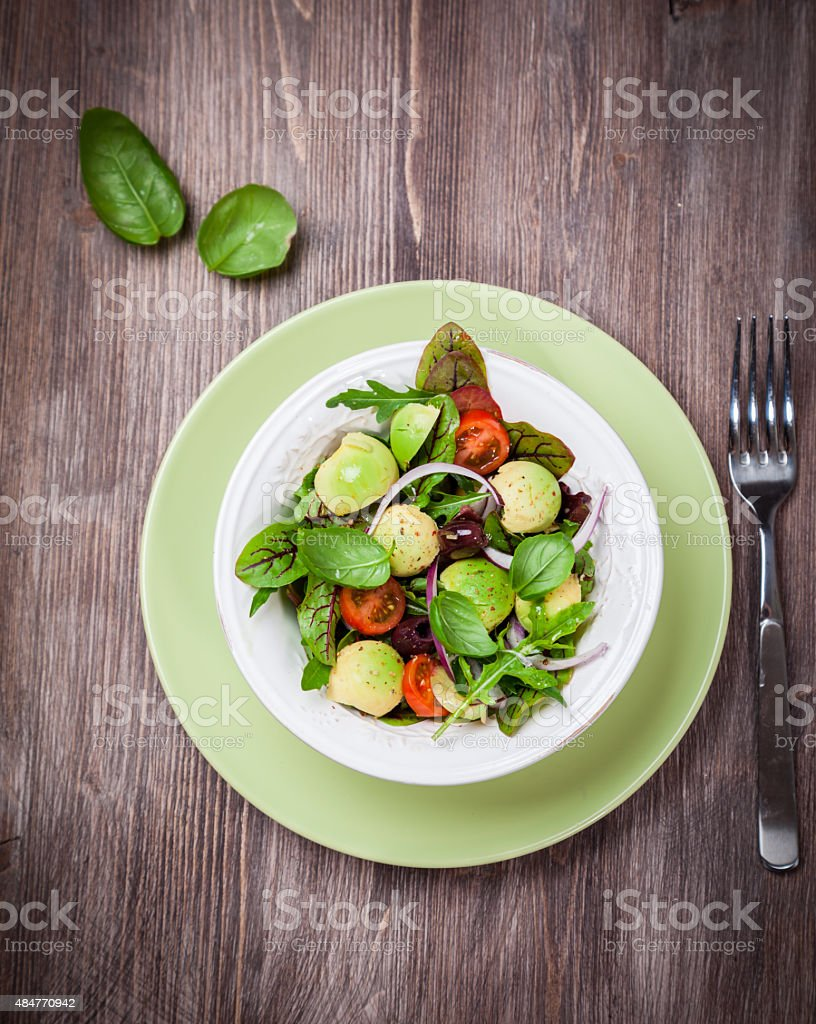 Spring mixed salad stock photo