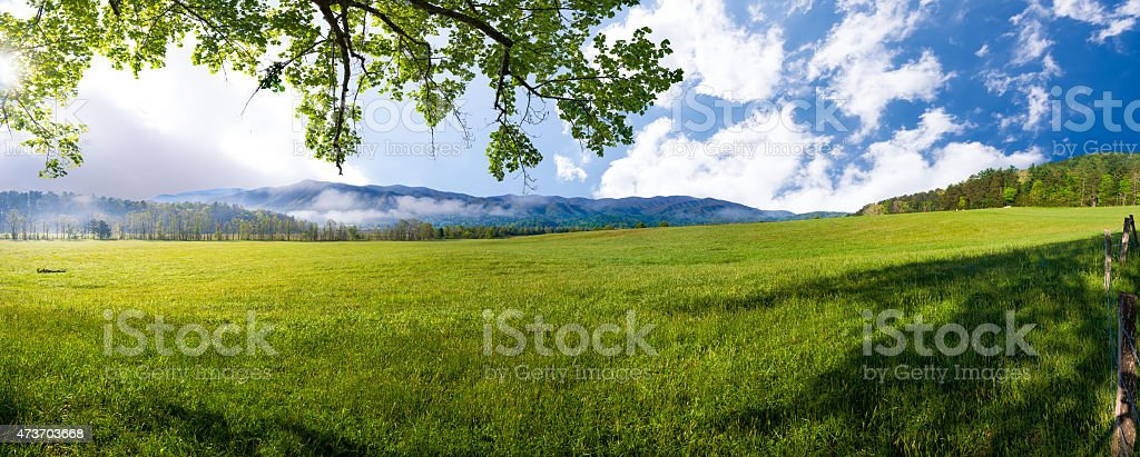 Spring Morning in Cade's Cove, TN stock photo