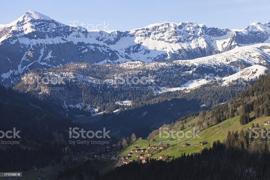 Spring Morning, Swiss Alps, Obersimmental stock photo