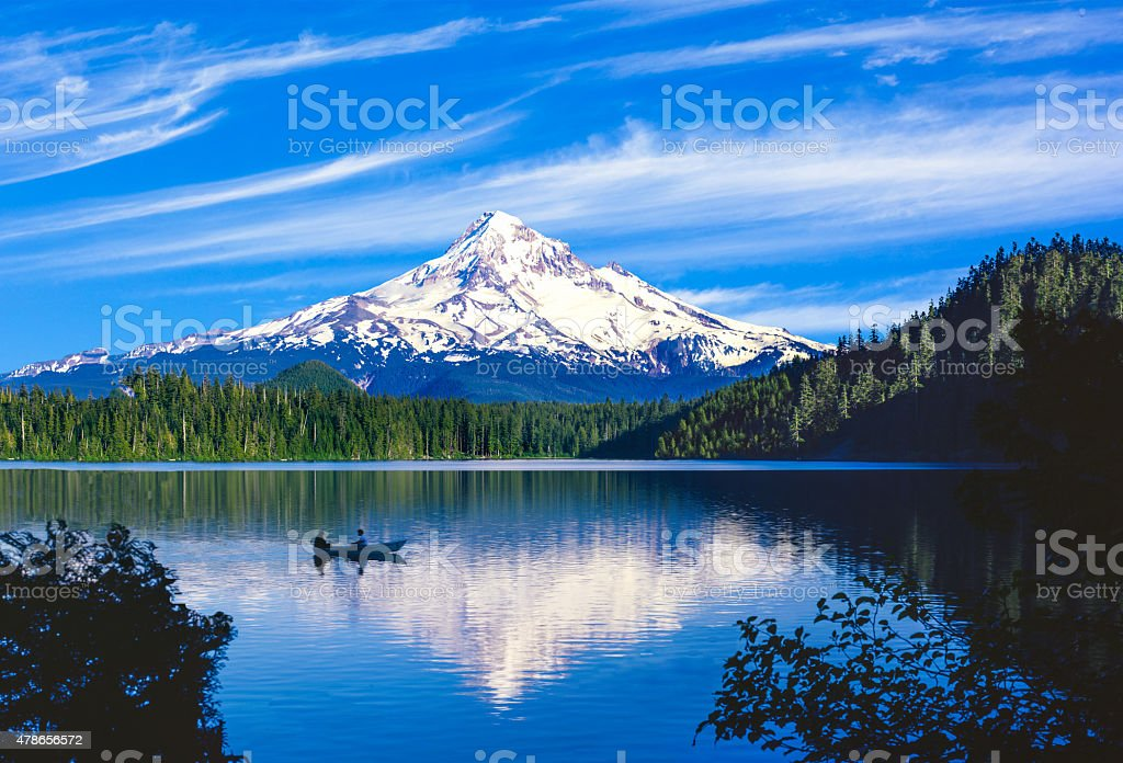 Spring morning with the reflection of  Mt. Hood, OR stock photo