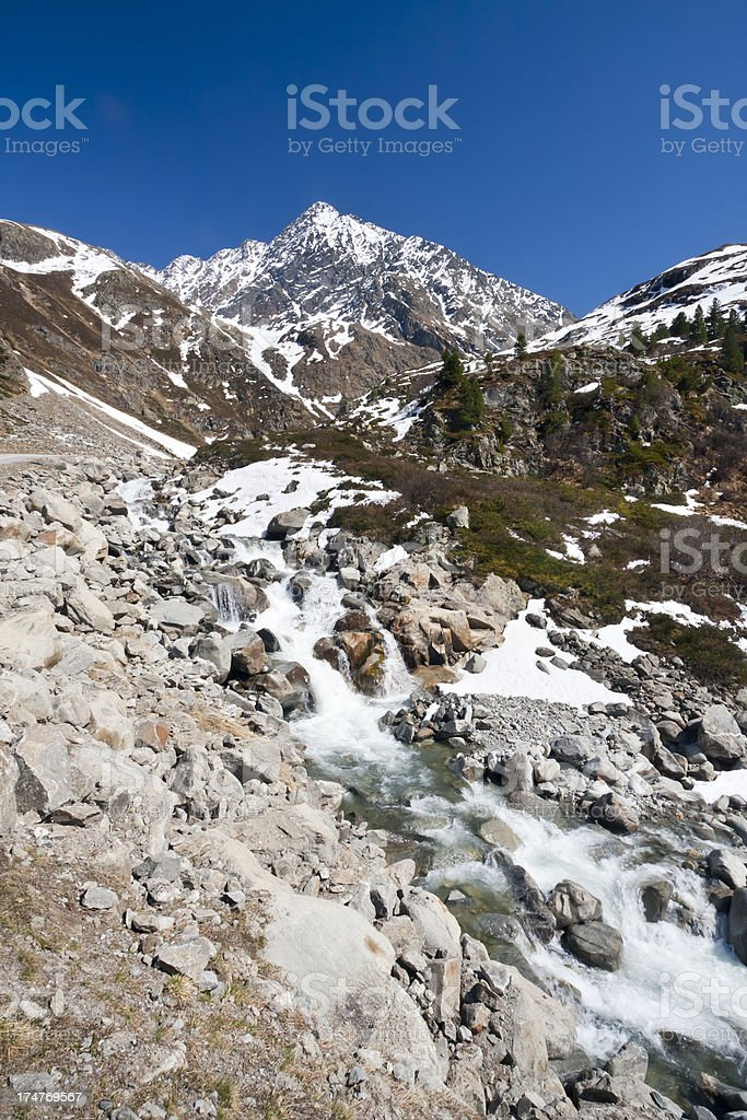 Spring Mountain And River stock photo