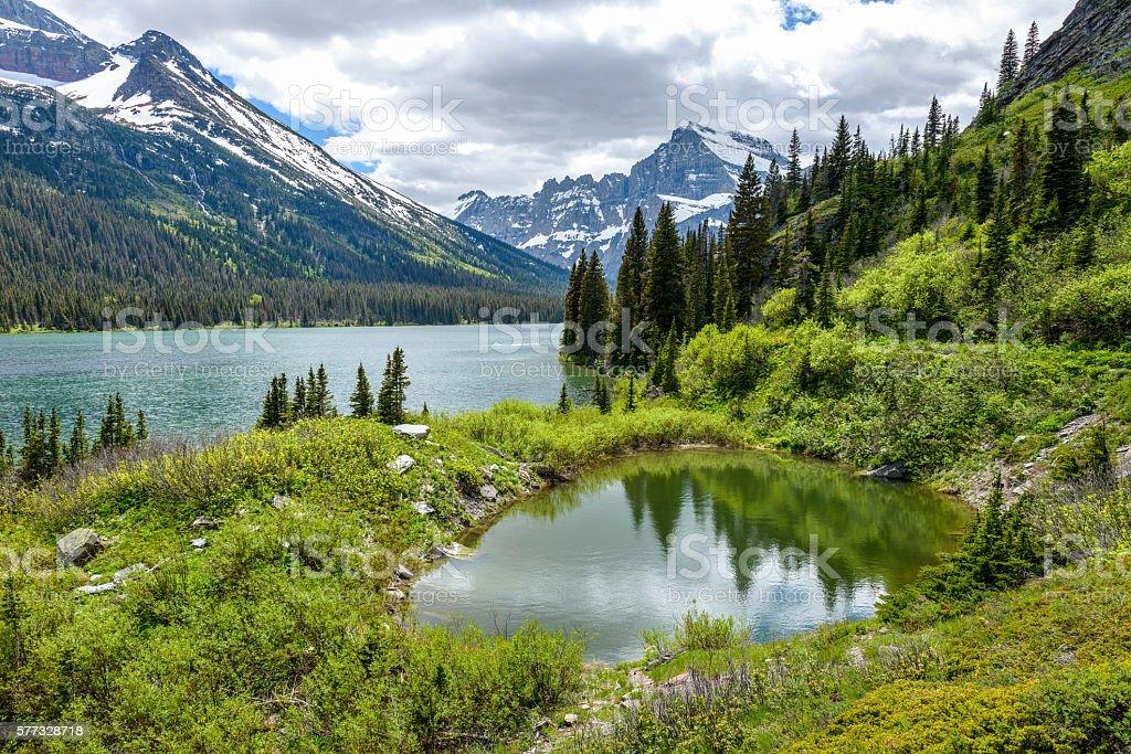 Spring Mountain Pond stock photo