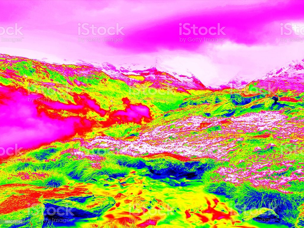 Spring mountains in infrared photo. Amazing thermography. stock photo