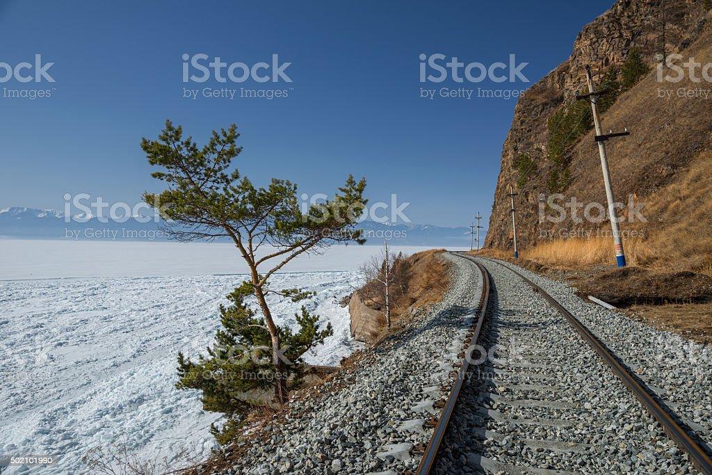 Spring on Circum-Baikal Railway stock photo