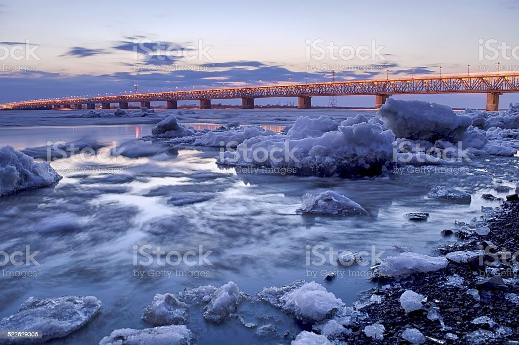 Spring on the Amur river. Khabarovsk, Russia stock photo
