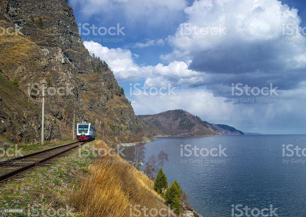 Spring on the Circum-Baikal Railroad stock photo