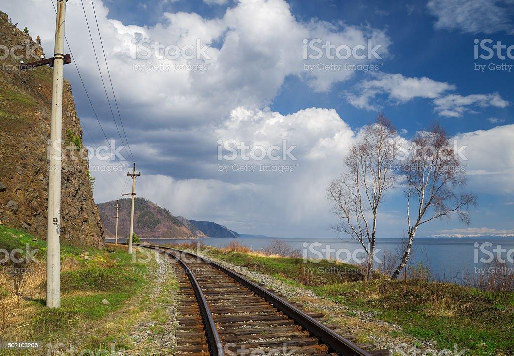 Spring on the Circum-Baikal railway stock photo