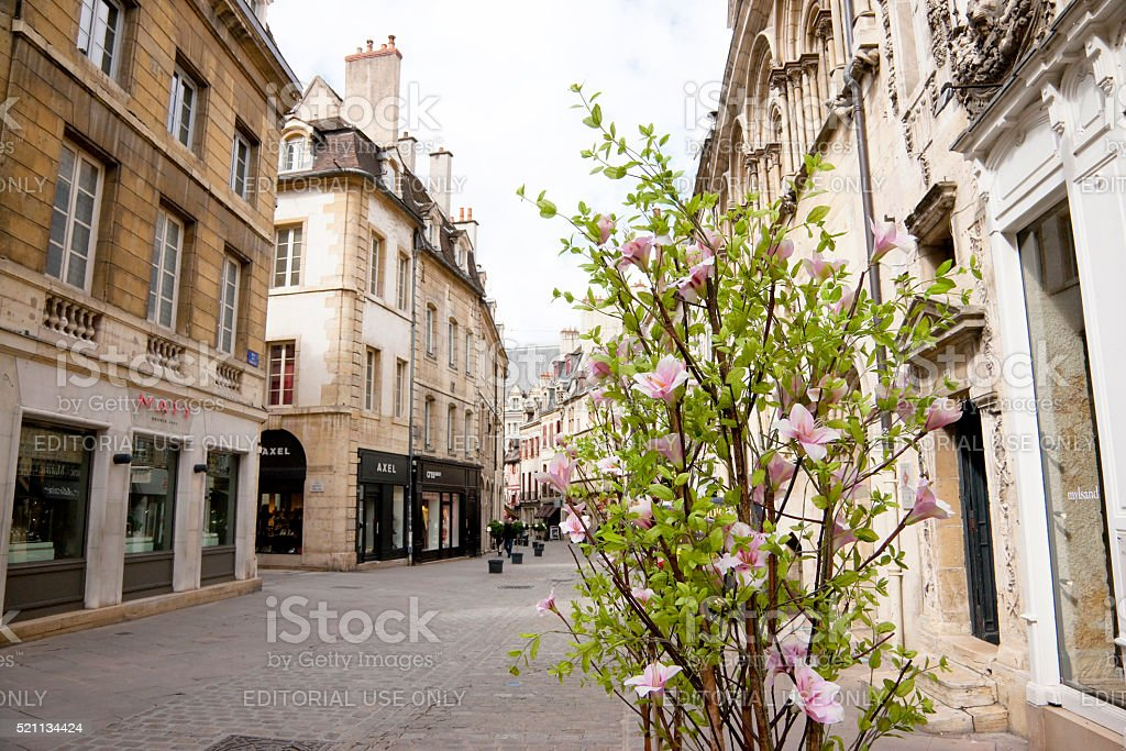 Spring on the streets of Dijon, France stock photo