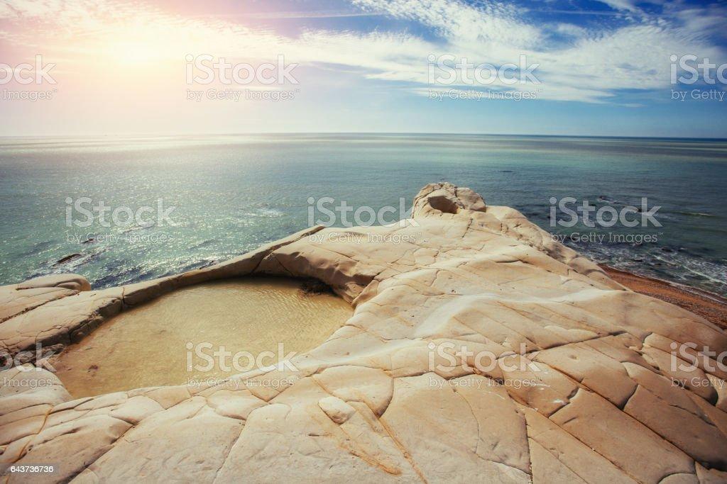 Spring panorama of sea coast city Trapany. Sicily, Italy, Europe stock photo