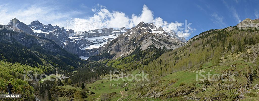 Spring panoramic view of the cirque of Gavarnie stock photo