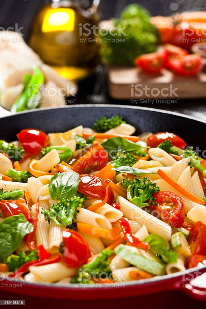 Pasta primavera stock photo