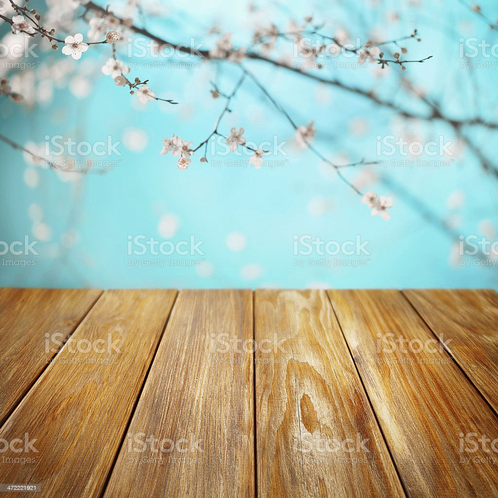 Spring Picnic table stock photo