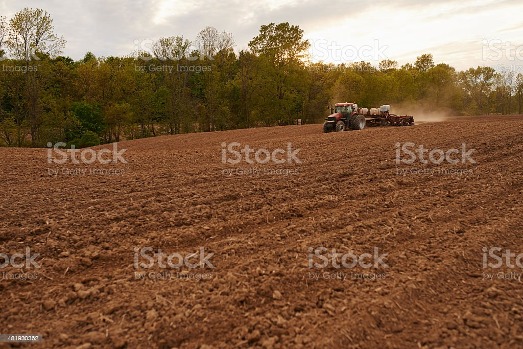 Spring plowing stock photo