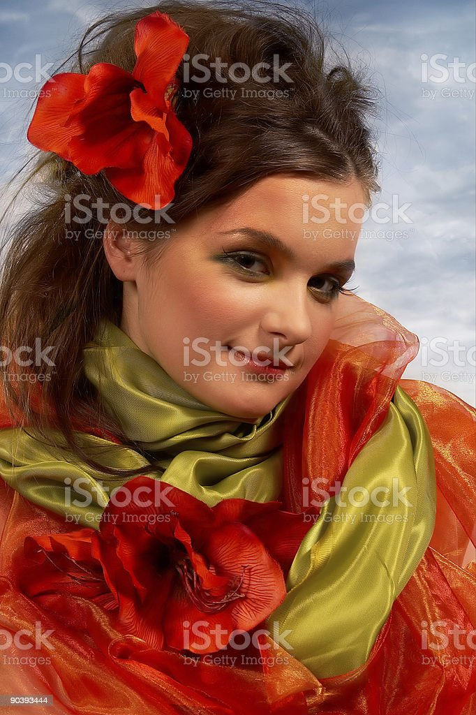 Spring portrait with flowers royalty-free stock photo