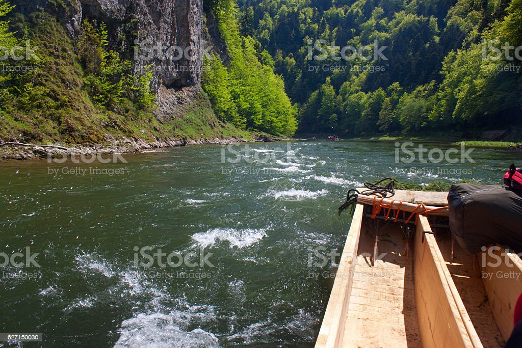 Spring rafting on the Dunajec river. stock photo