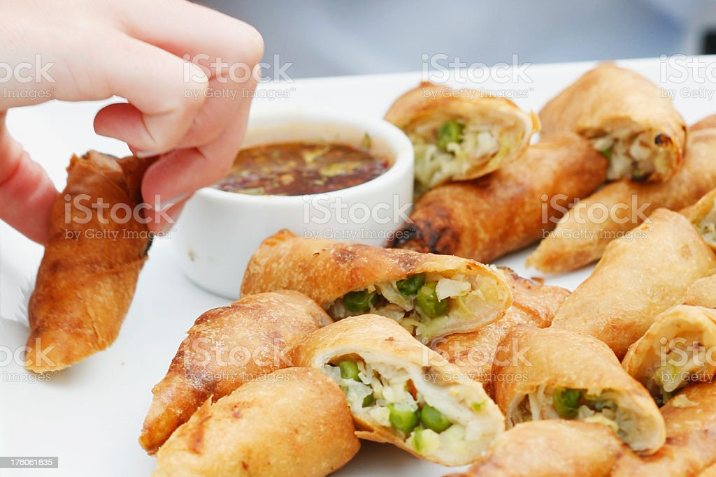 Spring Rolls and Dip royalty-free stock photo