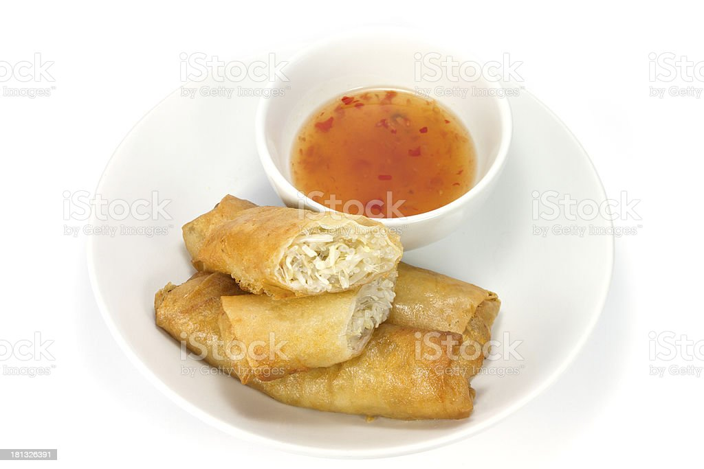 Spring rolls and dipping sauce royalty-free stock photo