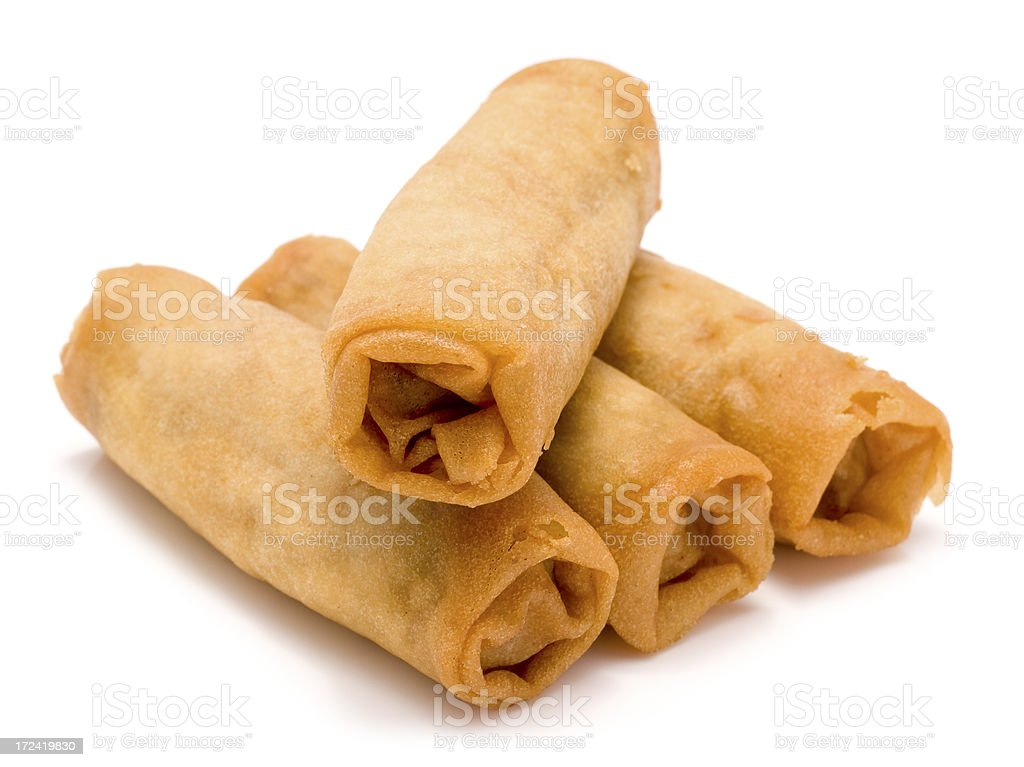 Spring rolls isolated on a white background stock photo