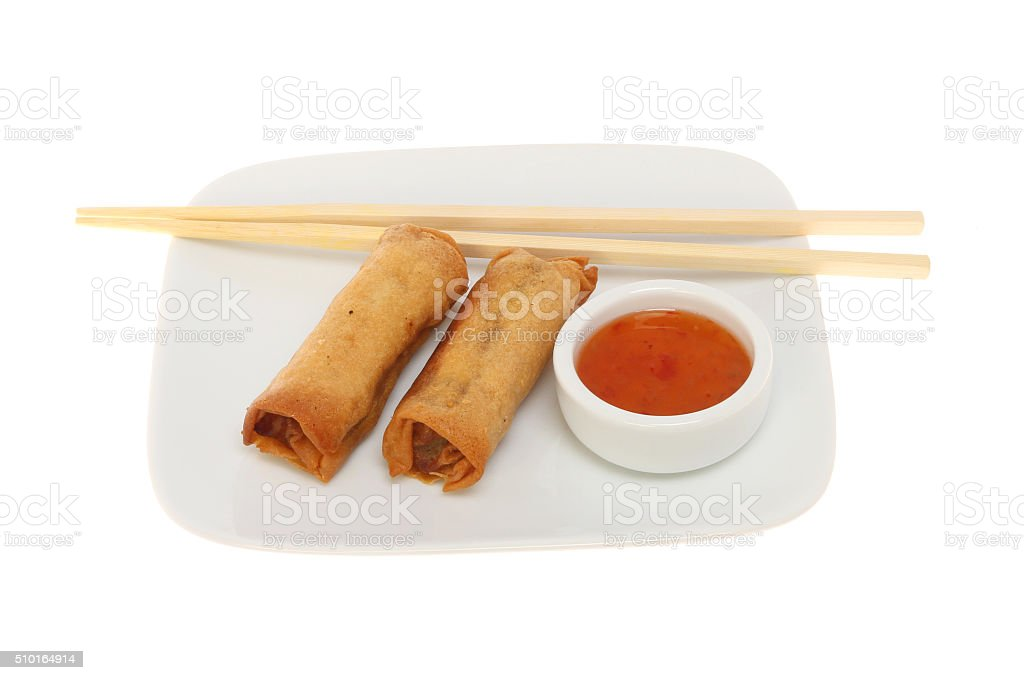 Spring rolls on a plate stock photo