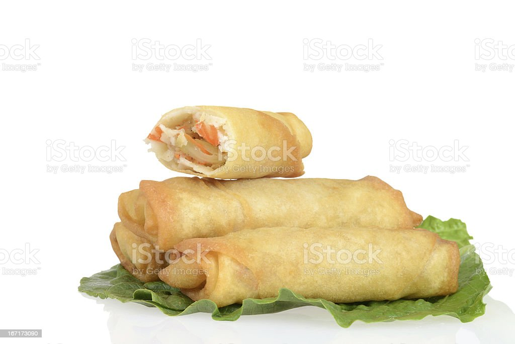 Spring rolls on lettuce royalty-free stock photo