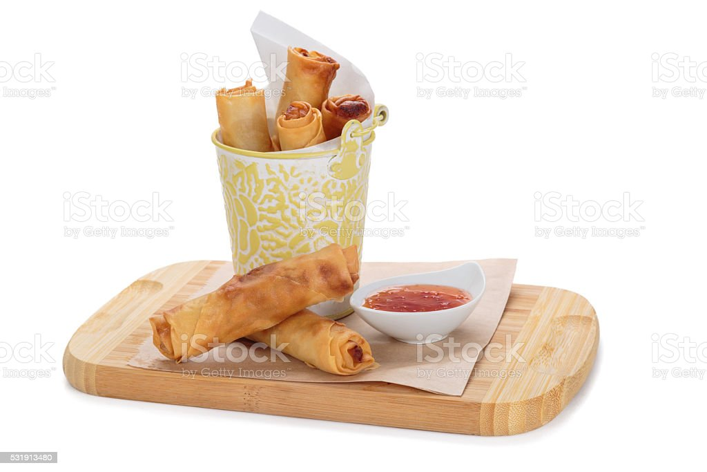 spring rolls on wooden board stock photo