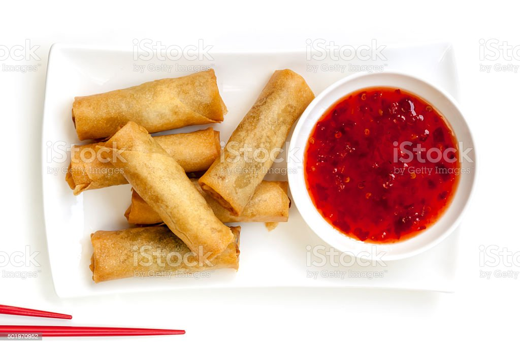 Spring Rolls with Chili Sauce stock photo