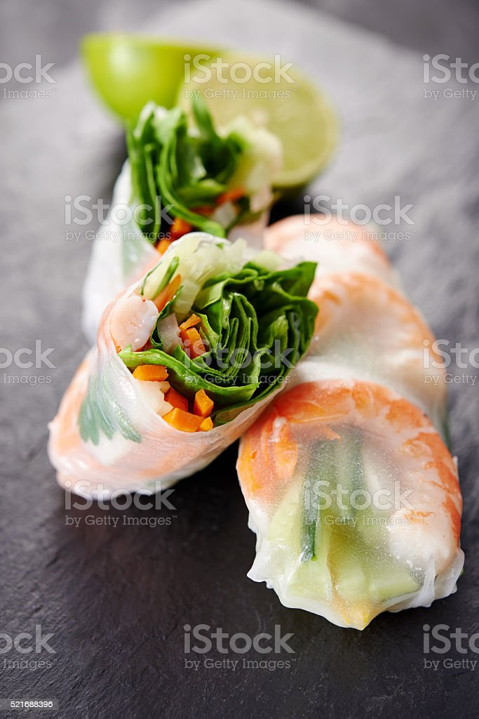 spring rolls with shrimps stock photo