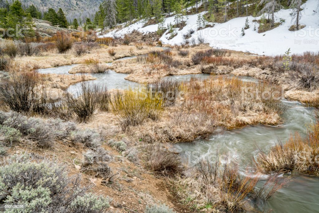 spring run off in Rocky Mountains stock photo