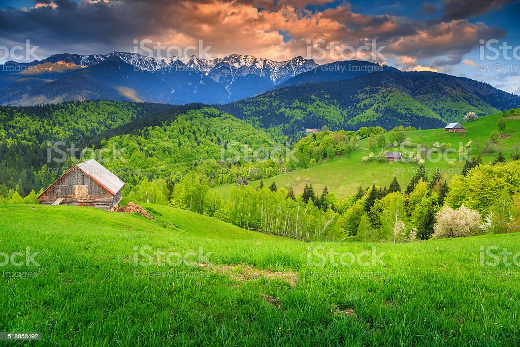 Spring rural landscape and wilderness near Bran,Transylvania,Romania,Europe stock photo