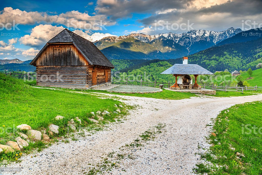 Spring rural landscape near Bran,Transylvania,Romania,Europe stock photo