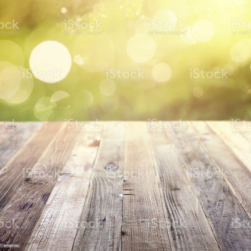 Spring rustic template background with bokeh stock photo
